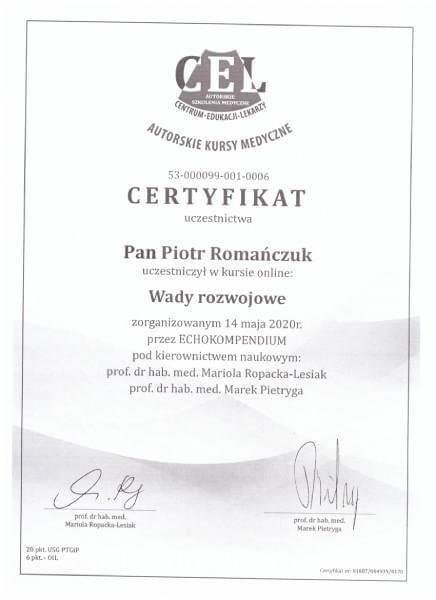 certyfikat wady rozwojowe